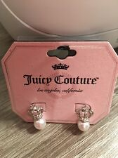 Juicy Couture Crown Pearl Earrings Silver NWT