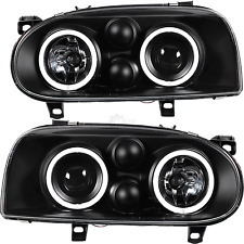 Set FANALI SET CCFL Angel Eyes VW Golf 3 III anno 91-97 Vetro chiaro Nero
