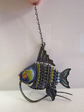Lrg Vintage Silver Chinese Articulated Reticulated Enamel Cloisonne Movable Fish