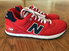 MENS NEW BALANCE 574 RED CANVAS SNEAKERS SIZE 7.5D ML574POR 25240