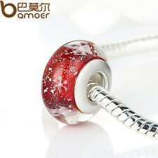 Luxury Murano Red Bead Glass With Snow Fit European Charm Bracelet For Xmas Gift