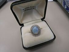 14KT WHITE GOLD TRANSLUCENT OPAL & DIAMOND ROUND RING (7881-RING 00Y)
