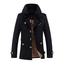 Men's Winter Warm Fleece Trench Coat Jacket Overcoat Outwear Top Thicken Parka