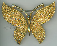 Trifari Gold-tone Butterfly Pin Brooch Vintage Textured