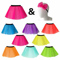 Girls NEON TUTU and HAIR BOW 80s costume DANCE COSTUME STAGE fancy dress UK MADE