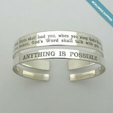Two Inspirational Quote Cuffs - Pair Sterling Silver Engraved Bracelets