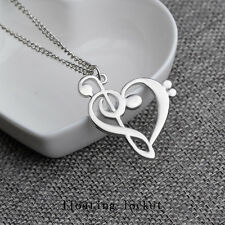 1pc Gold/Silver Heart With Music Pendant Charm Necklace Chain Jewellery Gift