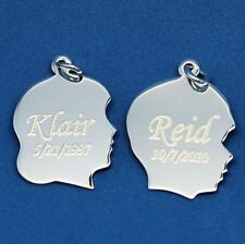 .925 Sterling Silver Boy or Girl Silhouette Charm with free engraving