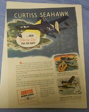 1940's WW 2 II CURTISS SEAHAWK War Ad Full Page Color