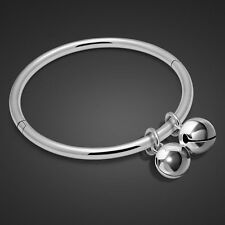 Genuine Solid Sterling Silver Charm Bell Pendant Bangle Bracelet SB051