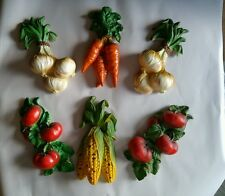Vintage Lot of 6 Japan Ceramic Vegetables Wall Hanging Onion, Tomato Carrot Corn