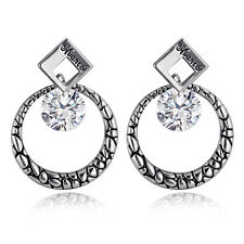 Spargz Circle Silver Plated Black Classic Office Wear  Earrings AIER 622