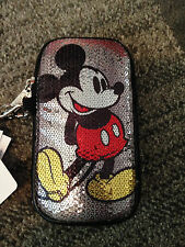 Disney-Parks-Mickey-Mouse-Cell-Phone-Sequins-D-Tech-Case-Zip-Wrist-Strap-NWT