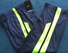 NWT Nike Boys Youth M Dark Gray/Neon Yellow/Black Dri-Fit Athletic Pants Medium