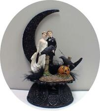 Sexy black Raven Moonlight Halloween Wedding Cake topper top cool funny 1