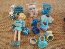 "Polly Pocket Lot ""Colors of the Rainbow"" Doll Blue Pets Cat Dog Accessory L37"