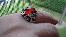 Spectacular Sterling Silver 925 Large Faceted Ruby Men's Ring Size 10.75