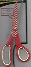 "SCISSORS--RED STRIPED BLADES--RED HANDLES--8"" Long"