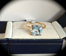 AQUAMARINE RING 9K Y GOLD SIZE Q WOW! HUGE 3.48CT CUSHION SHAPE  - BNWT