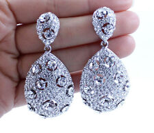 BRIDAL DROP DANGLE AUSTRIAN CRYSTAL RHINESTONE CHANDELIER EARRINGS SILVER E2171