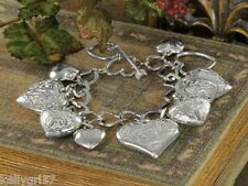 Bracelet Hearts & More Hearts! Puffed, Embossed, Plain, Open, Chunky Charm #41-F