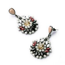 NEW J CREW Medallion Fringe Black Red White Yellow Gemmed Earrings