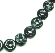 """16"""" NATURAL Snowflake Obsidian Donut ~34 Beads 12mm K3315"""