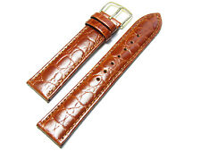 18mm Hadley-Roma Genuine Leather Crocodile Grain Tan Watch Band MS717
