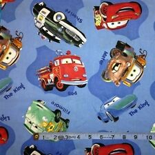 Disney Cars Movie Cars on Blue Cotton Fabric Fat Quarter