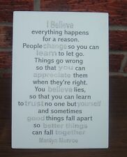 shabby vintage chic marilyn monroe quote i believe everything happens sign
