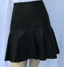 Ralph Lauren Polo Lamb Leather Black Pleated Skirt Womens 12 Silk Lined