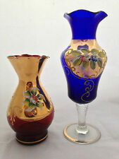 2 x HIGH ENAMEL GILDED ART GLASS VASES / + EMPOLI 'MADE IN ITALY' LABEL