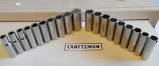 CRAFTSMAN 19 pc SAE STANDARD METRIC 3/8 DRIVE 12 POINT DEEP WELL SOCKET SET