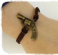 Retro steampunk handgun revolver pistol Rock friendship bracelets quirky Kitsch