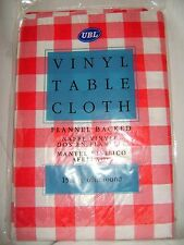 "NEW RED WHITE CHECKED FLANNEL BACKED VINYL TABLECLOTH 60"" 152cm ROUND UBL"