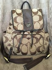 COACH HAMPTONS RETIRED SIGNATURE BACKPACK~ BROWN LEATHER BAG~DOUBLE STRAPS~RARE!