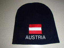 Austria Austrian Flag Embroidered on Navy Knit Beanie Hat