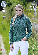 KNITTING PATTERN Ladies Long Sleeve High Neck Cable Jumper Super Chunky 4706