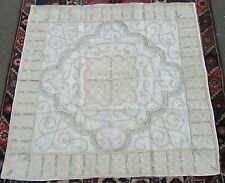 INDIAN MUSLIN & METAL THREADS AND DISCS EMBROIDERY  WALL HANGING COVERLET RUG