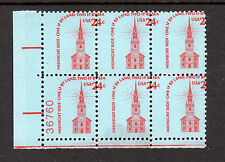 1603, Mint NH 24c - Perf Shift Error, Block of 6, Plate Number Capture, US USA