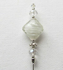 "WHITE GLASS Hat Pin Vintage Antique Silver Style 6"" + Pin Protector"