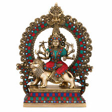 "15"" Big Shrine Durga Statue Brass Handmade Sculpture Religious Goddess Idol gift"