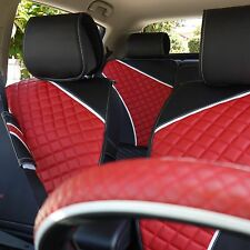 Seat Cover Shift Knob Belt Steering Wheel Black & Red PVC Leather Upgrade 33021d