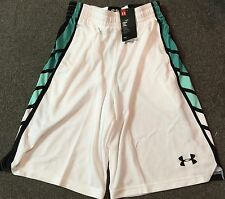 NWT Mens L Under Armour Select White/Green/Black BASKETBALL Shorts Large