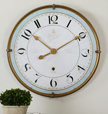 "NEW LARGE 32"" ANTIQUED GOLD METAL ROUND WALL CLOCK LARGE NUMBERS AGED IVORY FACE"