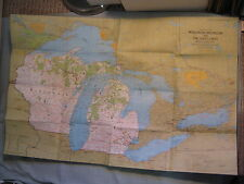 WISCONSIN MICHIGAN AND THE GREAT LAKES MAP National Geographic August 1973 MINT