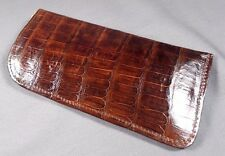 NEW GENUINE HANDMADE BROWN ALLIGATOR - CROCODILE DELUXE EYEGLASSES CASE 9