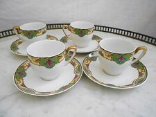 SERVICE DE 4 TASSE & SOUS TASSE A CAFE / THE EN PORCELAINE DE LIMOGES RAYNAUD