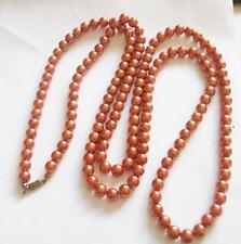 VINTAGE 1950'S CRAL PEACH COLOURED EARLY PLASTIC PEARL BEADED NECKLACE BEADS