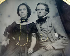 6th Plate AMBROTYPE Photograph PERIOD FASHION LOVING Young Couple CIRCA 1850s